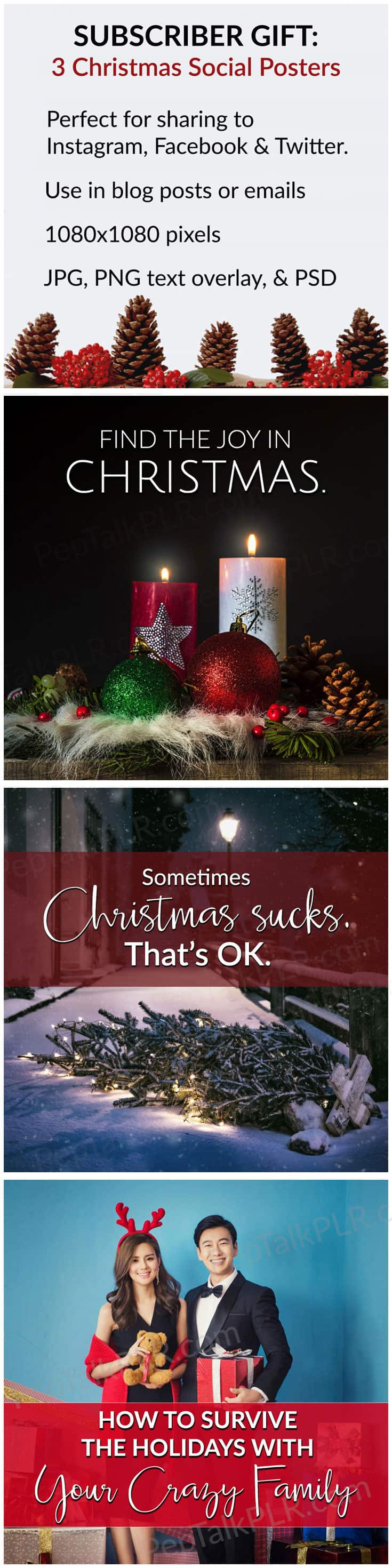 Free Christmas Social Posters - Download 3 free Christmas social posters perfect for sharing to Instagram, Facebook, and Twitter! Each image is 1080x1080 pixels and includes JPG, PNG text overlays, and editable PSD formats.